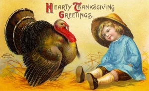 Now how that terrifying kid's looking at that turkey just gives me the creeps. I don't know but it doesn't look good.
