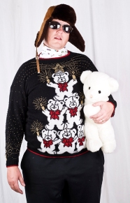 Clothing - Sweater - Christmas - Ugly Tacky Sweater - Nutcracker - White Stacked Bears
