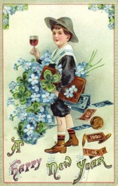 free-vintage-new-year-cards-boy-with-wine-four-leaf-clovers-money-blue-flowers