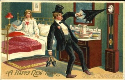 Strange and Creepy New Year's Postcards from ca. 1900s-1910s (18)