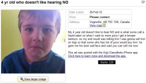 kijiji child for sale