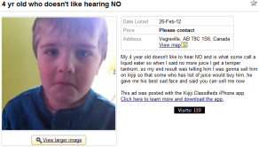 kijiji child for sale