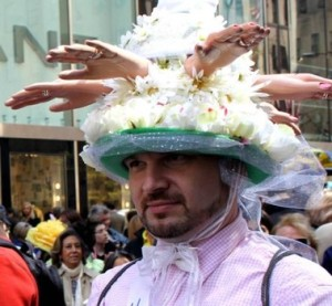 Okay, that's probably the most disturbing Easter bonnet I've ever seen. No, disembodied hands aren't appropriate for Easter parades. Seriously, why?