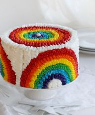 I think this might be primarily a birthday cake. Yet, since Saint Patrick's Day has rainbows, this counts.