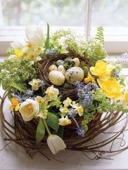 No, I don't think birds would be stupid enough to lay their eggs in someone's flower garden. But this is very pretty.