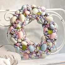 The flowers may be small and the eggs are of pastel colors. But all in all, it's a beautiful wreath for any front door.
