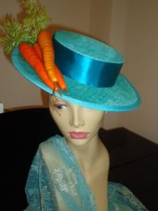 This seems to be an easy Easter bonnet look as you see. Just add carrots to a porkpie hat and you're good to go.