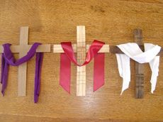 As a practicing Catholic, I'm aware what these colors mean. Purple denotes Lent, red denotes Holy Week, and white pertains to Easter.