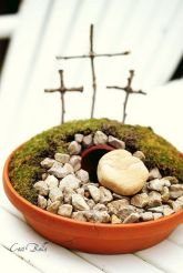 This seems easy. Just requires some moss, sticks, rocks, and small flower port for the empty tomb.