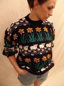 This one is in the same style as some ugly Christmas sweaters you see. But this one has a more spring theme.