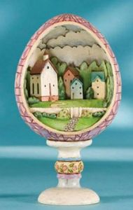 To be fair, the egg is probably not that small. But it's still quite baffling to see an entire village fit in this.