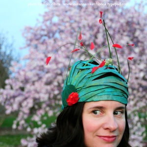 This one is just a green turban with red flowers. Seems doable but might be harder than it looks.