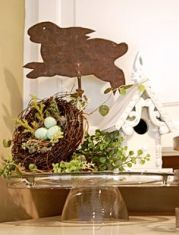 This includes a leaping bunny, a bird's nest, and a birdhouse. Guaranteed to make a nice centerpiece.