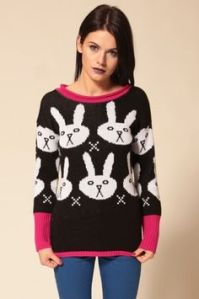 Not sure of what to think about this sweater. The bunnies don't seem to look happy. But it's certainly tacky that I'll give it a space on this post.