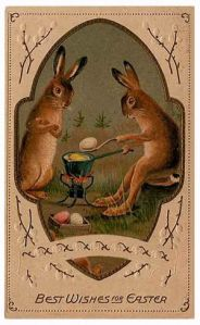 I'm sure the artist's intention was of bunnies dying eggs. But looking at this, I can't tell whether they're dying eggs or cooking them.