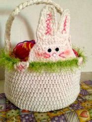 I don't mean a real one. I mean a crocheted basket with a bunny peeking from it. So cute that it's bound to melt your heart.