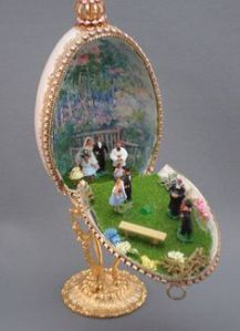 There are plenty of egg dioramas to commemorate weddings. In fact, this one might've been used as a cake topper even.