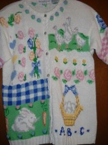 This one has geese in the top right corner. Yet, it's trimmed with blue gingham and pink roses.