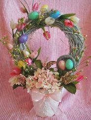 This one has eggs, flowers, and other stuff. What else could you say. Nevertheless, makes a great Easter centerpiece.