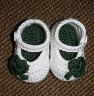 Yes, it's another pair of baby girl shoes. But these have little shamrocks on them and are so cute.