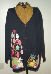 I know some people have an Easter tree according to Pinterest. My family doesn't do this. But here's a sweater anyway.