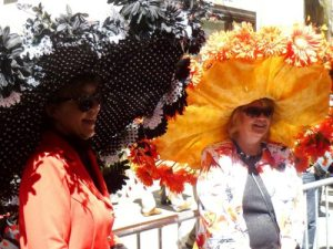 And yes, these women are wearing big brims during the Easter parade. Can also double as Kentucky Derby hats.