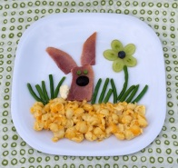 This one includes, cheese shells as dirt, roast beef bunny, and green been grass. I'm sure a lot of kids would love this.