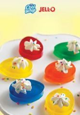 Yes, they kind of look like deviled eggs. But they're made out of jello and are used for dessert.