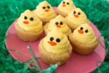 I think these are made like peanut butter cups but with chicks instead. Still, thee are so cute.