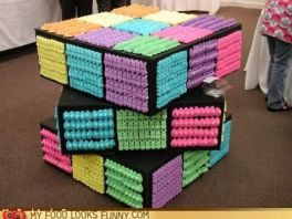 It's a Rubix Cube decorated with marshmallow peeps. Get it?