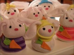 Yes, these are sock bunnies like the sock snowmen I showed you around Christmas. And some of them even have clothes. So cute.