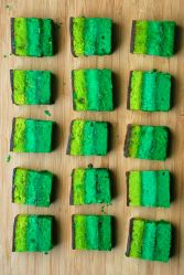 These are bar cookies in a few shades of green. Just right for Saint Patrick's Day.