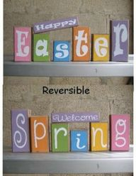 """On one side, it says """"Happy Easter."""" On the other, it says """"Welcome Spring."""" They're reversible."""