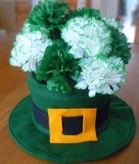 Sure the carnations are fake and the pot is felt. But I think this is a nice Saint Patrick's Day arrangement.
