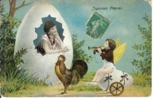 I'm sure this woman works as some part time prostitute or something. Also, why is the winged cherub in an egg cart being pulled by a rooster?