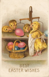 Seems like this grocer chick hates his job selling these colored eggs. Shopper chicks think he's a shyster and aren't so fond of him either.