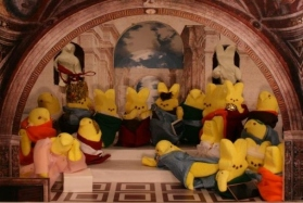 This is based on a famous Renaissance painting by Raphael. Now with marshmallow bunnies.