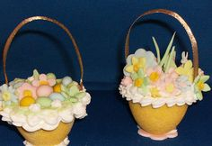 These are lovely with flowers and colored eggs. And these handles are ribbons.