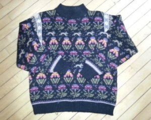 I think this was designed like a traditional ugly Christmas sweater. But with spring and Easter motifs instead.