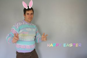 Because this guy is certainly rocking his us ugly Easter sweater. He even has rabbit ears, too.