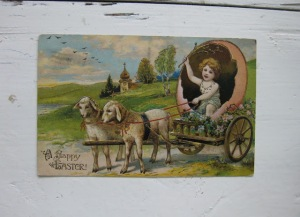 "From Popthomology: ""After attending church on Easter, apparently it is the tradition to ride around in a dinosaur eggshell in a cart pulled by two bummed-out sheep that you whip with a branch."""