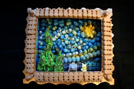 Yes, this is a peep depiction of Starry Night. And there's Vincent Van Peep with part of his ear cut off.