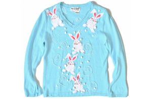 Seems like these have bunnies on the shoulders and the middle. Still, pretty tacky but cute.