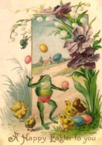 So this frog is juggling Easter eggs. And these chicks are eagerly watching him. Does anyone see how fucked up this is? Seriously, why?