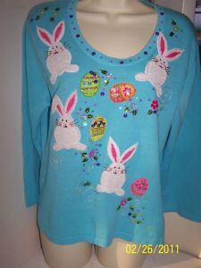 Yes, this one has eggs and bunnies on it. And yes, sequins can be tacky. So this one goes on the post.