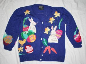 Well, this is a cardigan. But it has a bunny on each side. Still, like the color.