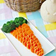 Consists of sliced carrots and broccoli. Yet, will go great with the cauliflower bunny.