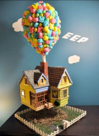Like how they use the peeps as balloons for the house. So clever.