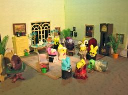 I guess this is a murder mystery peep diorama. Wonder who did it here. The butler is too obvious as a suspect.