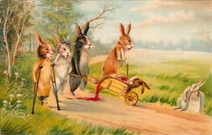 Okay, why the hell did anyone think traumatizing children on Easter was a good idea? For God's sake these bunnies are injured and one is lying bleeding in a wheelbarrow, possibly dead. This is the most fucked up Easter card I've ever seen in my life.